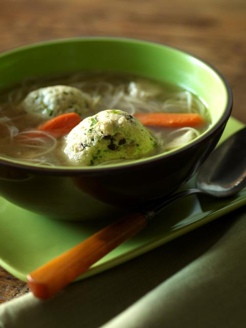 Chicken Soup with Shiitake Mushroom Matzoh Balls